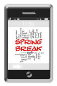 Spring Break Word Cloud Concept on Touchscreen Phone — Stock Photo