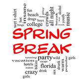 Spring Break Word Cloud Concept in Red Caps — Stock Photo
