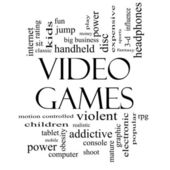 Video Games Word Cloud Concept in Black and White — Stock Photo