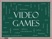 Video Games Word Cloud Concept on a Blackboard — Stock Photo