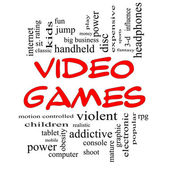 Video Games Word Cloud Concept in Red Caps — Stock Photo