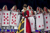 Queen of Hearts and Card Soldiers Close Up — Stock Photo