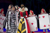 Queen of Hearts and Card Soldiers Looking on — Stock Photo