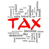 Tax Word Cloud Concept in Red Caps — Stock Photo