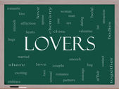 Lovers Word Cloud Concept on a Blackboard — Stock Photo