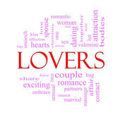 Lovers Word Cloud Concept in Pink and Red — Stock Photo