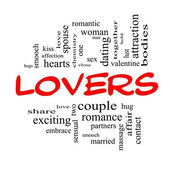Lovers Word Cloud Concept in Red Caps — Stock Photo
