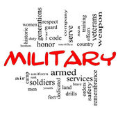 Military Word Cloud Concept in Red Caps — Stock Photo
