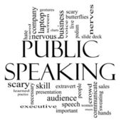 Public Speaking Word Cloud Concept in Black and White — Stock Photo