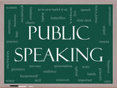 Public Speaking Word Cloud Concept on a Blackboard — Stock Photo