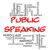 Public Speaking Word Cloud Concept in Red Caps — Stock Photo