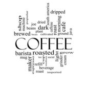 Coffee Word Cloud Concept in black and white — Stock Photo