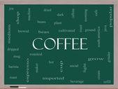 Coffee Word Cloud Concept on a Blackboard — Stock Photo