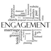 Engagement Word Cloud Concept in black and white — Stock Photo