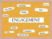 Engagement Corkboard Word Concept — Stock Photo