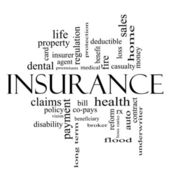 Insurance Word Cloud Concept in all black — Stock Photo
