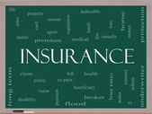 Insurance Word Cloud Concept on a Blackboard — Stock Photo