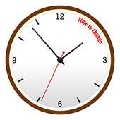 改变观念,木墙上时钟的时间 — 图库照片