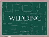 Wedding Word Cloud Concept on a Blackboard — Stock Photo