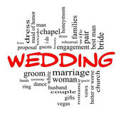 Wedding Word Cloud Concept in Red caps — Stock Photo