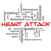 Heart Attack Word Cloud Concept in red caps — Stock Photo
