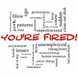 Royalty-Free Stock Photo: You\'re Fired Word Cloud Concept in Red Caps