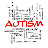Autism Word Cloud Concept in red caps — Stock Photo