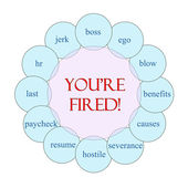 You're Fired Circular Word Concept — Stock Photo