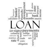 Loan Word Cloud Concept in Black and White — Stock Photo