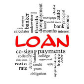 Loan Word Cloud Concept in Red Caps — Stock Photo