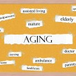 aging corkboard word concept — Stock Photo