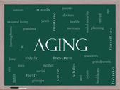 Aging Word Cloud Concept on a Blackboard — Stock Photo