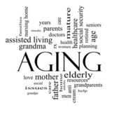 Aging Word Cloud Concept in black and white — Stock Photo