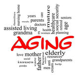 Aging Word Cloud Concept in Red Caps — Stock Photo