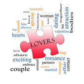 Lovers Puzzle Piece Word Cloud Concept — Stock Photo