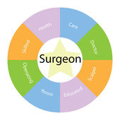 Surgeon circular concept with colors and star — Stock Photo