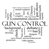 Gun Control Word Cloud Concept in black and white — Stock Photo