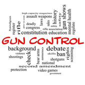 Gun Control Word Cloud Concept in Red Caps — Stock Photo