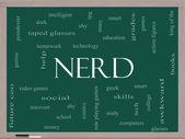 Nerd Word Cloud Concept on a Blackboard — Stock Photo