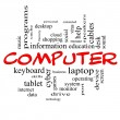Computer Word Cloud Concept in red caps — Stock Photo