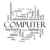 Computer parola nuvola concetto in bianco e nero — Foto Stock