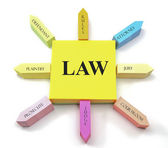 Law concept on Sticky Notes Sun Shape — Stock Photo