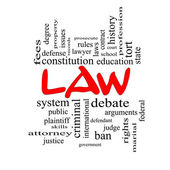 Law Word Cloud Concept in red caps — Stock Photo