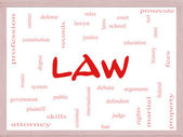Law Word Cloud Concept on a Dry Erase Board — Stock Photo