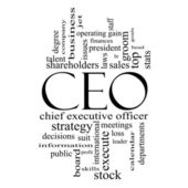 CEO Word Cloud Concept in Black and White — Stock Photo