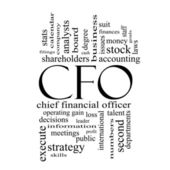 Cfo woord wolk begrip in zwart-wit — Stockfoto