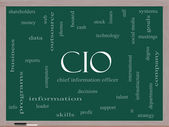 CIO Word Cloud Concept on a Blackboard — Stock Photo