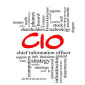 CIO Word Cloud Concept in red caps — 图库照片