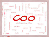 COO Word Cloud Concept on a Dry Erase Board — Stock Photo