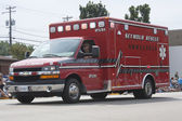 Red Seymour Rescue Ambulance Side View — Stock Photo